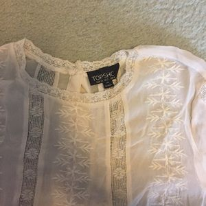Topshop Tops - Floral Lace White Top